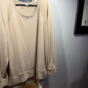 Cream Neutral Scoop Neck Light Sweater